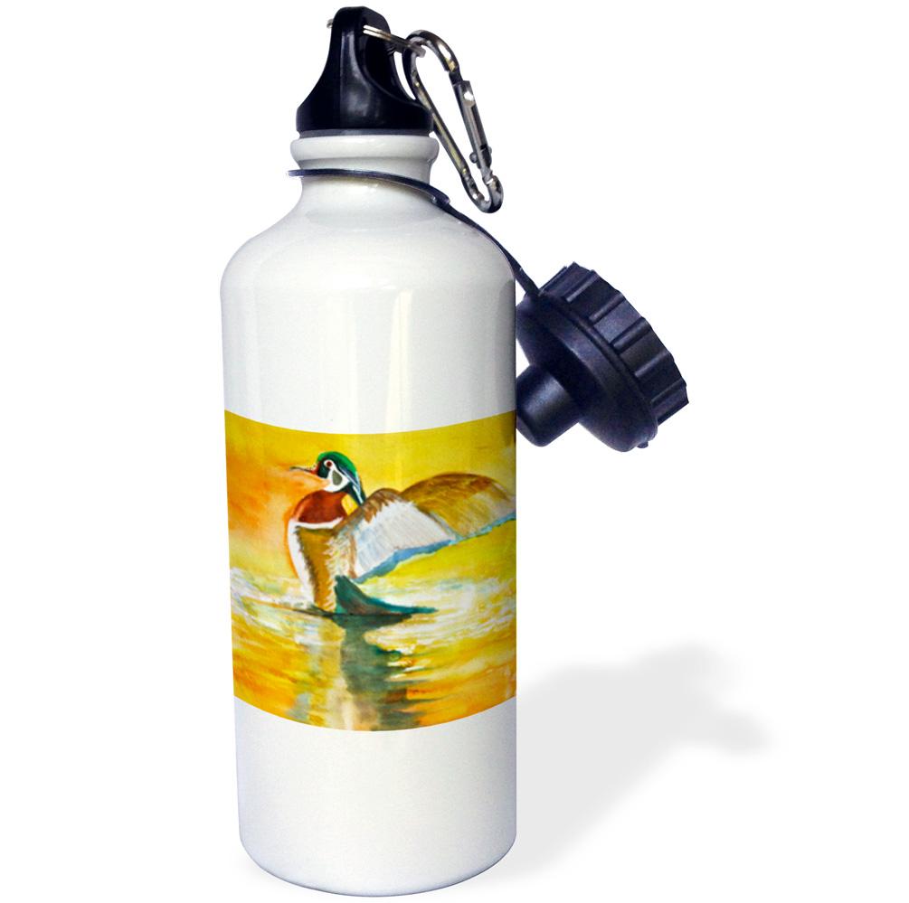 3dRose Watercolor of a Mallard duck, Male duck showing off, waterfowl, Sports Water Bottle, 21oz