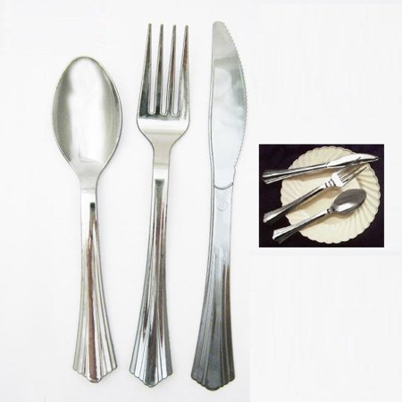18 Plastic Cutlery Silver Forks Knives Spoons Party Tableware Disposable (Disposable Craft Knife)