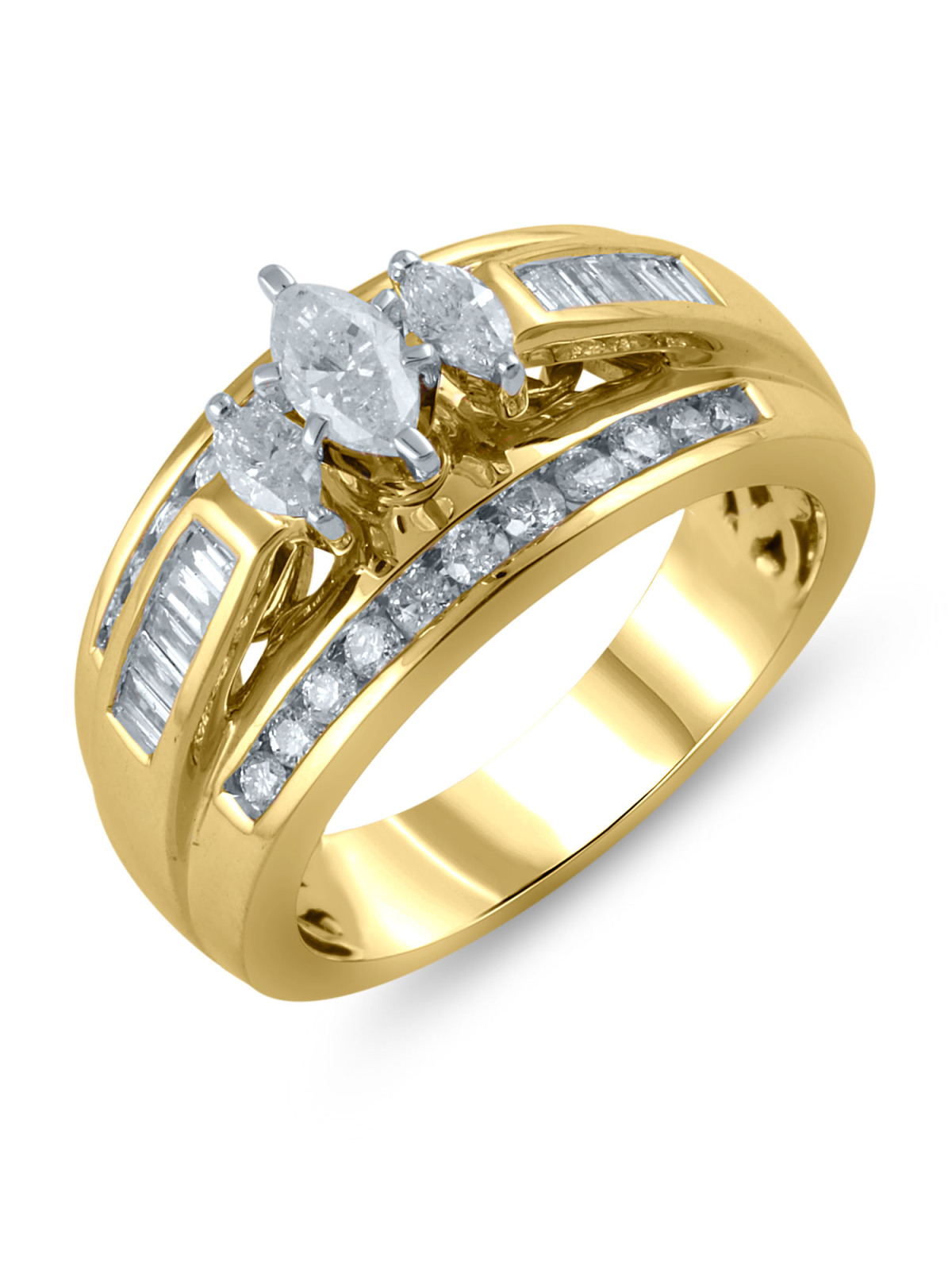 14K Yellow Gold 1 Carat Total Weight Genuine Diamond 3 Marquise Ring Set