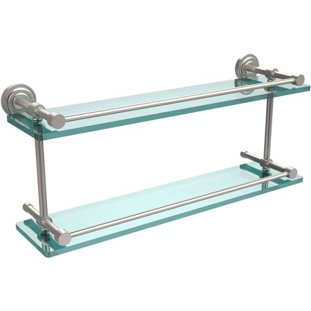 "Dottingham 22"" Double Glass Shelf with Gallery Rail (Build to Order)"