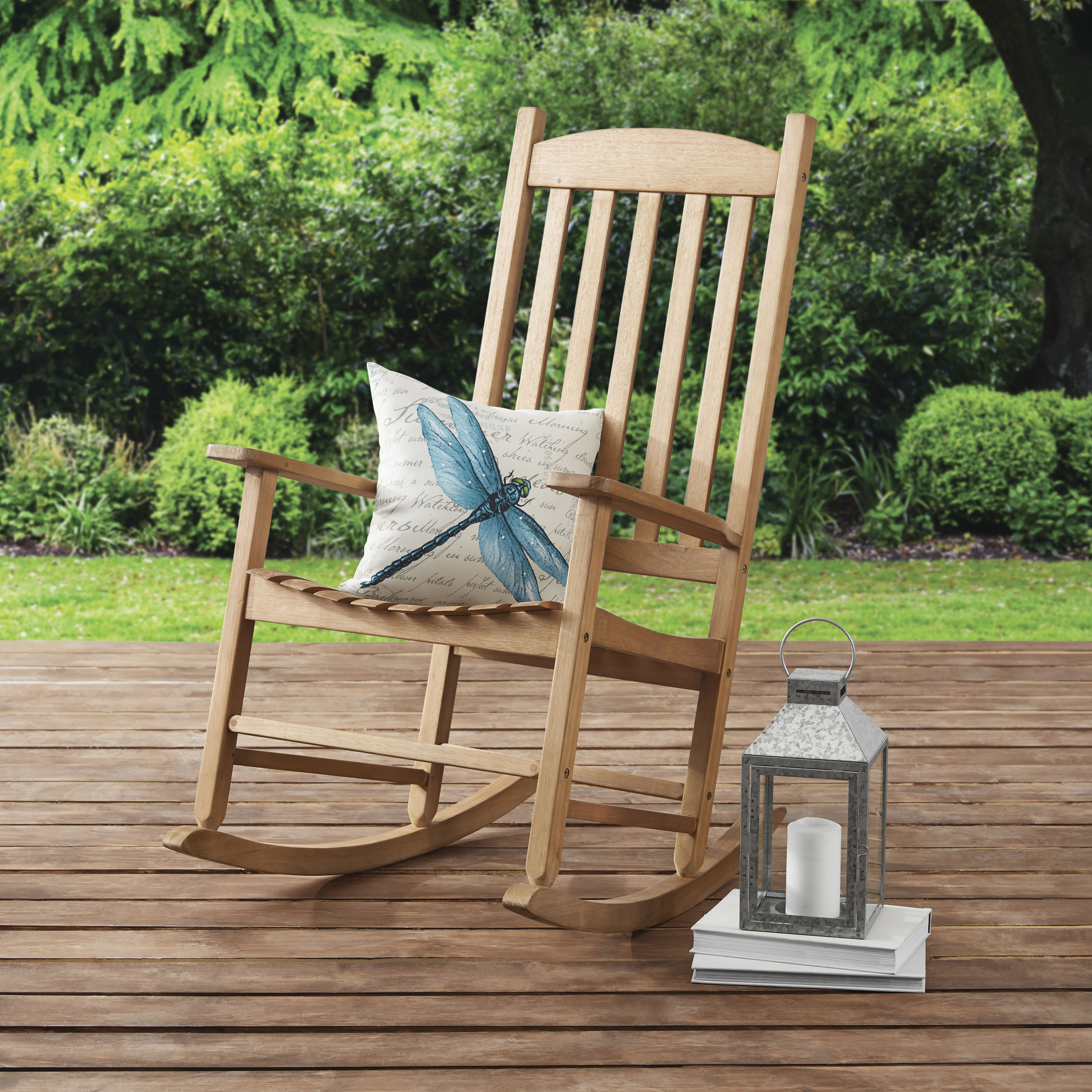 Delicieux Mainstays Solid Wood Slat Outdoor Rocking Chair