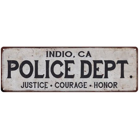 INDIO, CA POLICE DEPT. Vintage Look Metal Sign Chic Decor Retro - Party City Indio Ca