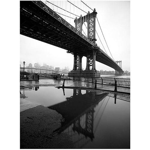 "Trademark Art ""Reflects Manhattan Bridge"" Canvas Art by Yale Gurney, 35x47"