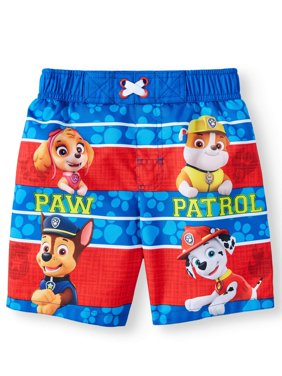 PAW Patrol Toddler Boys' Swim Trunks With Skye, Rubble, Chase & Marshall - Red/Blue