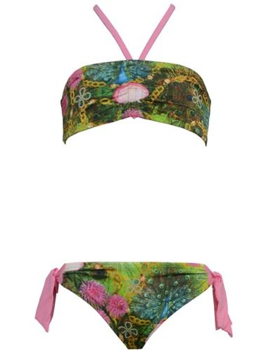 Planet Sea Little Girls Green Nature Print Knot Tube 2 Pc Swimsuit 4