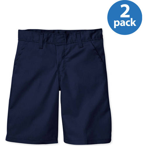 Genuine Dickies Girls' Flat Front Shorts, 2 Pack