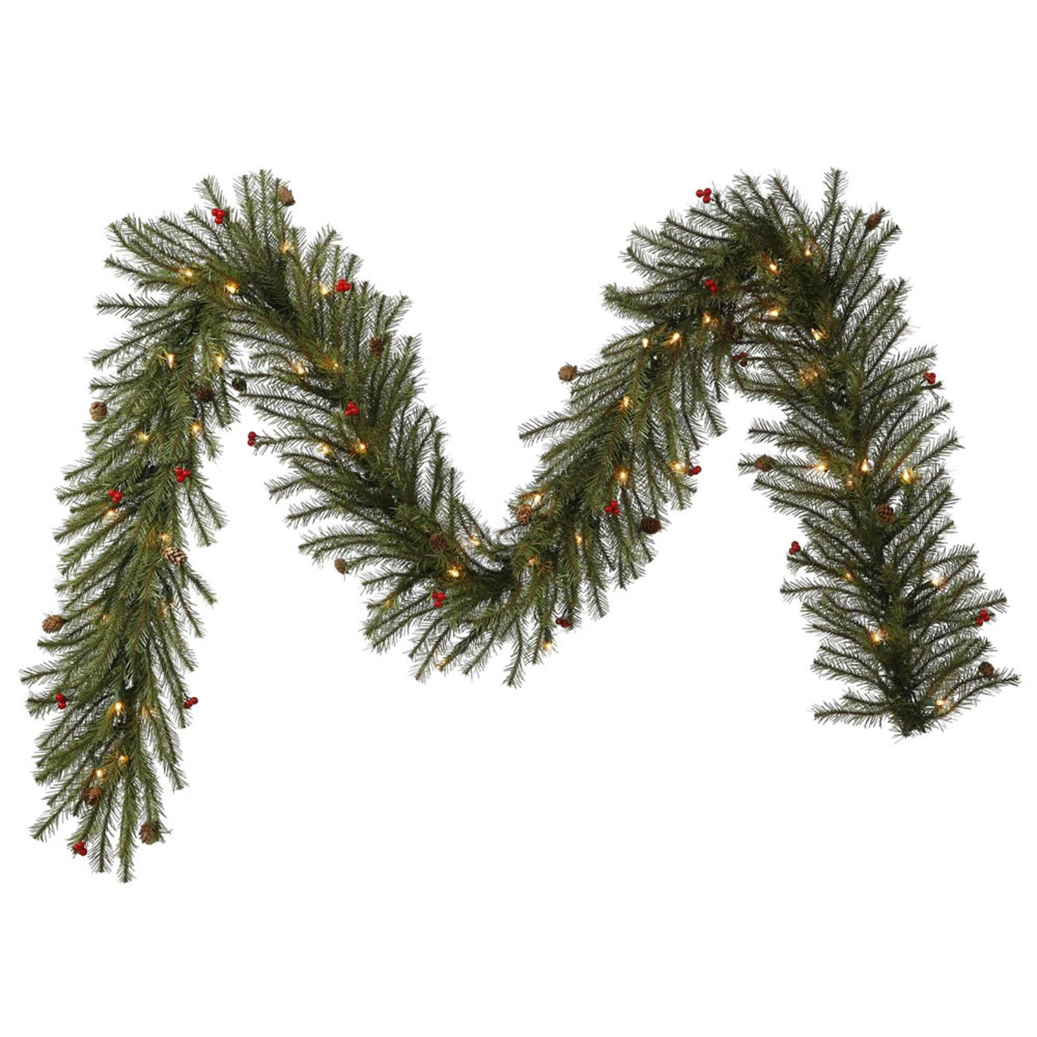 "9' x 12"" Pre-Lit Pistol Pine Berry and Cone Artificial Christmas Garland - Clear Lights"