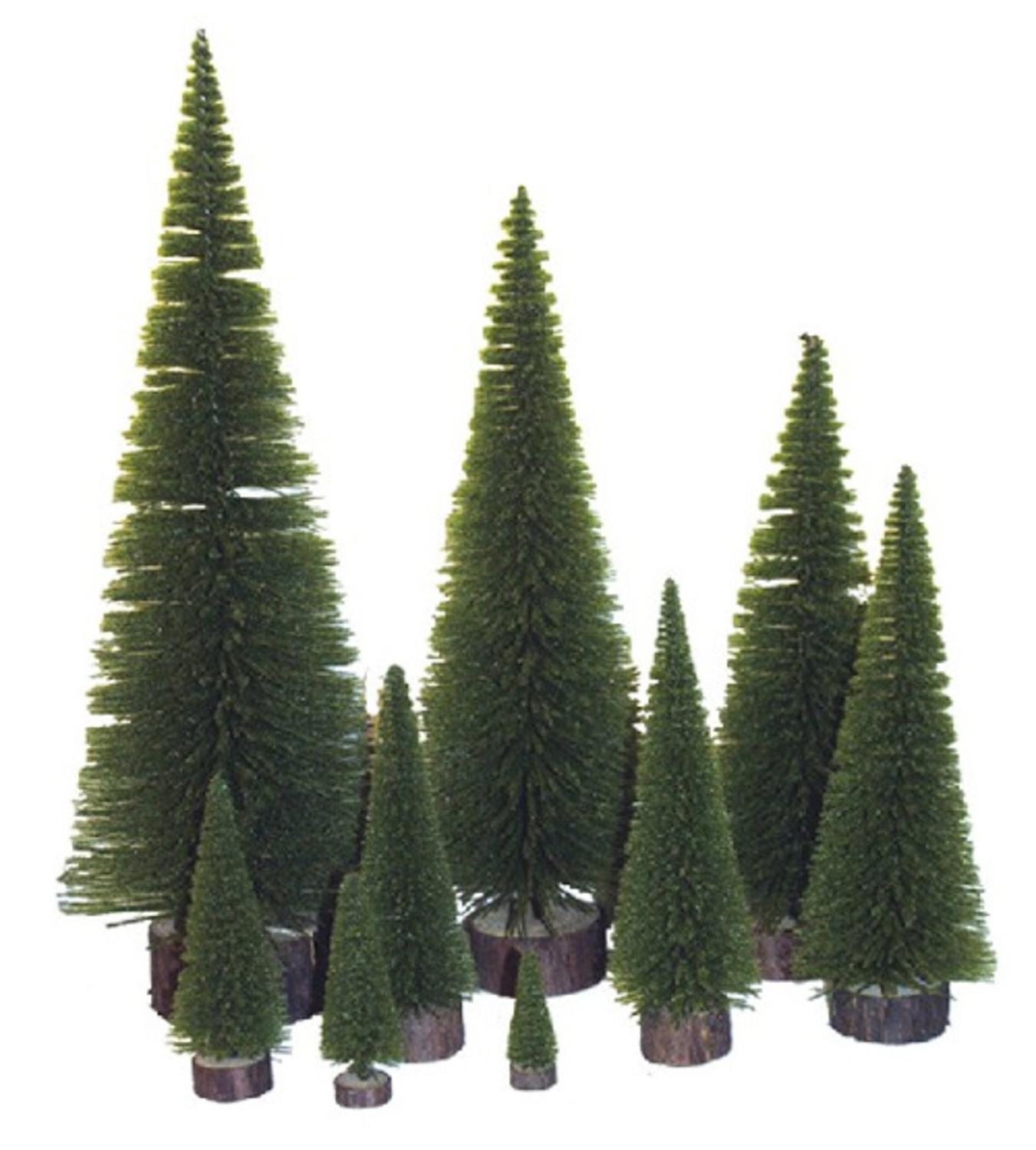"Pack of 2 Moss Green Artificial Village Christmas Trees 24"" - Unlit"