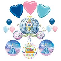 Cinderella Birthday Party Supplies and Carriage Balloon Bouquet Decorations.