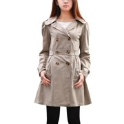 Women Gray Self Tie Strap Front Pockets Detail Leisure Trench Jacket S