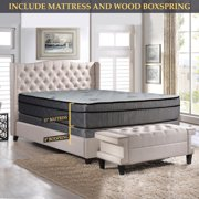 GOWTUN, 13-Inch Soft Foam Encased Hybrid Eurotop Pillowtop Memory Foam Gel Innerspring Mattress And 8-Inch Fully Assembled Wood Boxspring/foundation Set, Twin XL Size