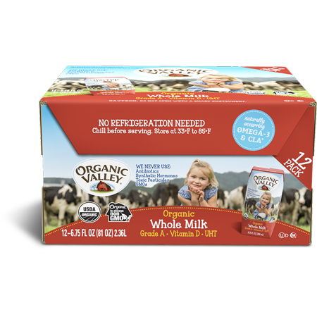 Organic Valley Whole Single-Serve Milk, 12 Ct