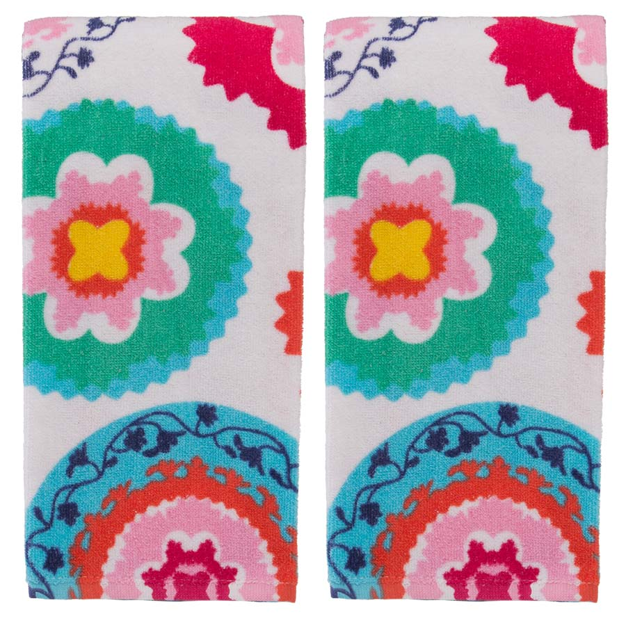 Oui By French Bull (2 Pack) Kitchen Towels Set Colorful Cotton Terry Hand Towel Modern... by