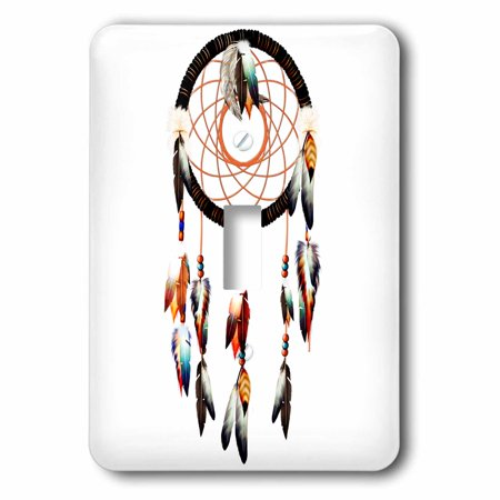 Native Americans Feathers - 3dRose Native American inspired Dream Catcher design, colorful feathers and beads., 2 Plug Outlet Cover