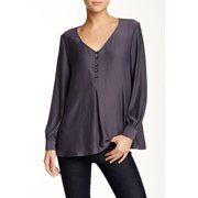 Valette NEW Gray Women's Size XS Henley Satin Crepe V-Neck Blouse