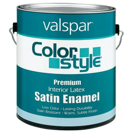 Valspar Brand 1 Gallon White ColorStyle Interior Latex Satin Enamel Wall Paint - Pack of 4 Interior Satin Latex Wall Paint