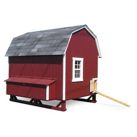 Little cottage unpainted gambrel barn chicken coop large for Chicken coop for 8 10 chickens