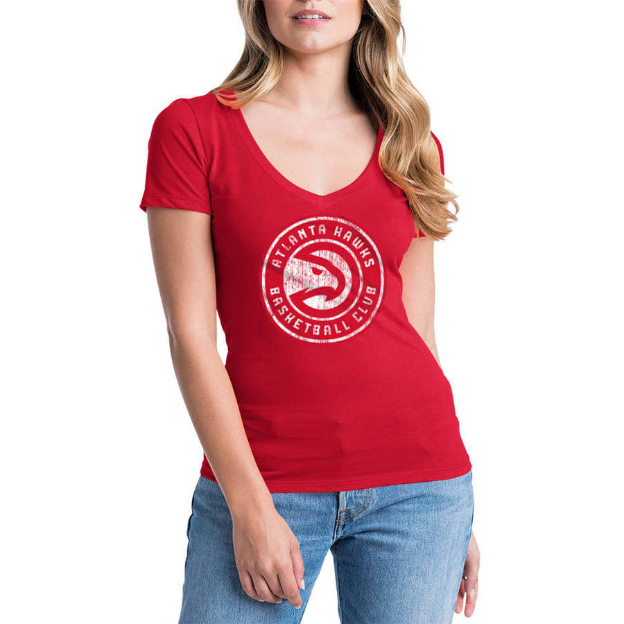 NBA Atlanta Hawks Women's Short Sleeve V Neck Graphic Tee