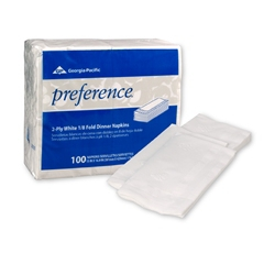 Preference Dinner Napkin  White, Paper, 2- Ply, 16 x 15 Inch, Case of 3000