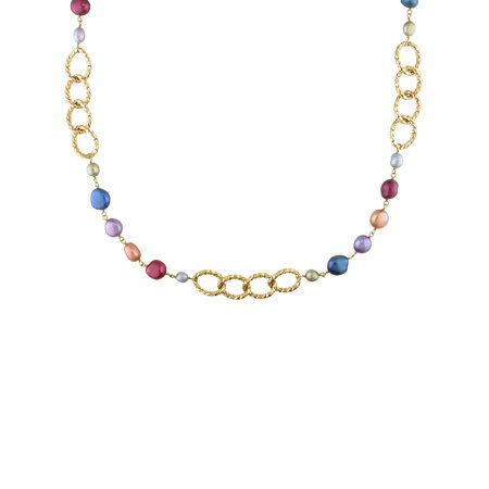 35' Diameter Color - Tangelo Multi-Color Freshwater Cultured Pearl Gold-Tone Brass Link Necklace, 35