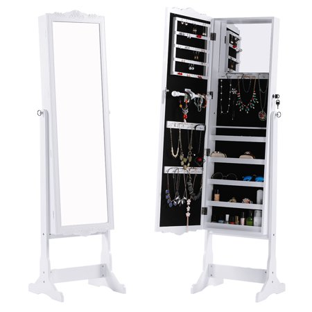 Free-Standing Lockable Carved Jewelry Armoire Cabinet with Full-Length Mirror and LED lights, 5 Shelves, Additional Mirror Inside, Organizer