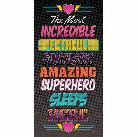 Superhero Sleeps Here Poster Print by Lauren Rader (9 x 18) - Vintage Superhero Posters