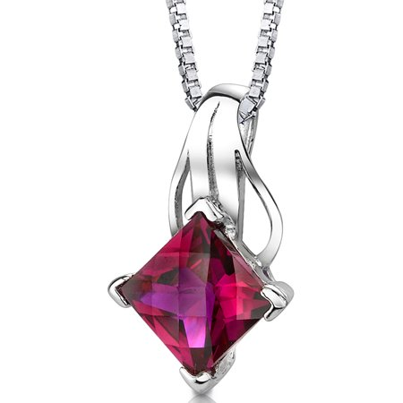 3.00 Carat T.G.W. Princess Cut Created Ruby Rhodium over Sterling Silver Pendant, 18