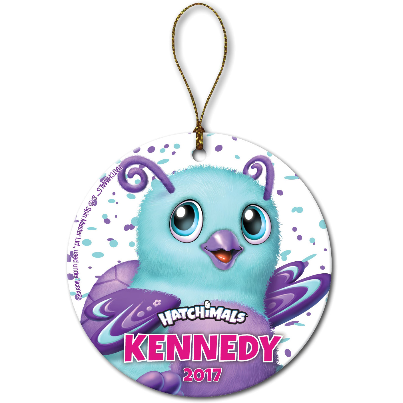 Personalized Hatchimals Round Burtle Christmas Ornament