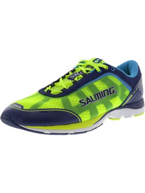 Salming Men's Distance 3 Navy / Safety Yellow Ankle-High Mesh Running Shoe - 11.5M