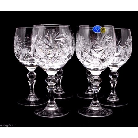 Russian Cut Crystal Red White Wine Glasses Goblets, Stemmed Vintage Design Glassware, 8.5 Oz. Hand Made