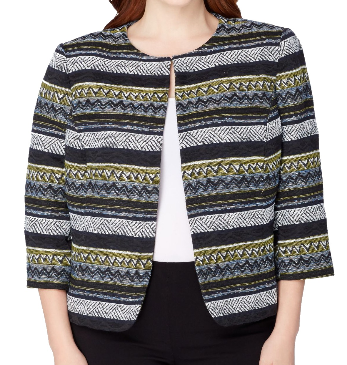 Tahari By ASL Green Womens Plus Jacquard Jacket