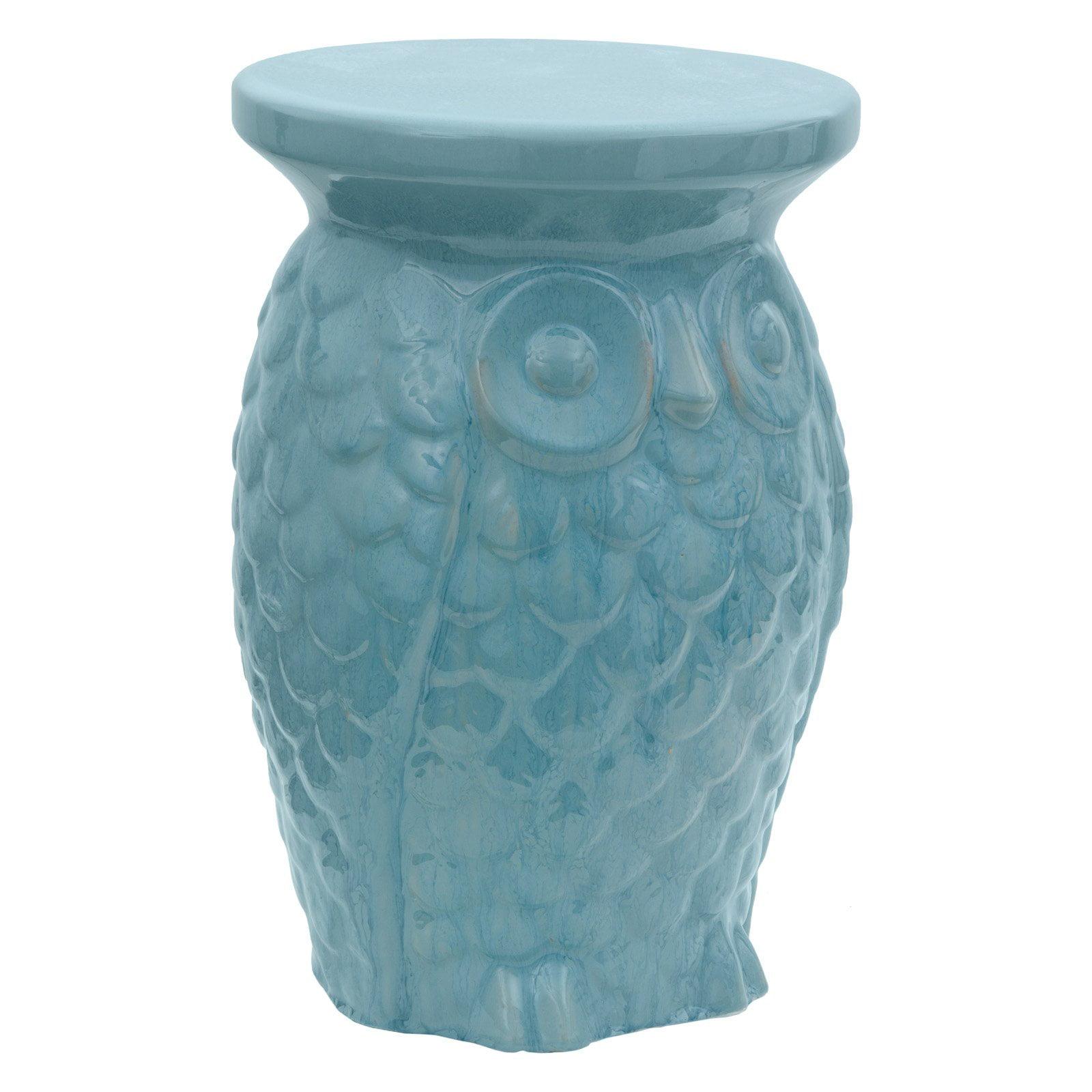 Oriental Furniture Carved Owl Porcelain 18 in. Garden Stool