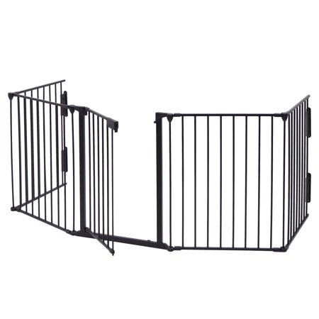 Jaxpety Fireplace Fence Baby Safety Fence Hearth Gate Pet Gate Guard Metal Plastic Screen, Black](baby gate black friday deals)