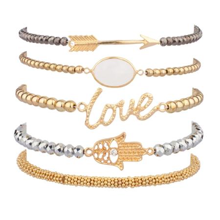 Candy Stretch Bracelet (Lux Accessories LOVE HAMSA ARROW Beaded Arm Candy Friendship Rhinestone Stretch Bracelet Set)