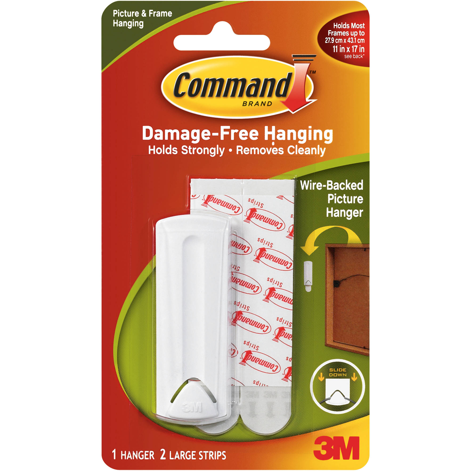 Command Wire-Backed Picture Hanger, White, 1 Hanger, 2 Strips, 17041