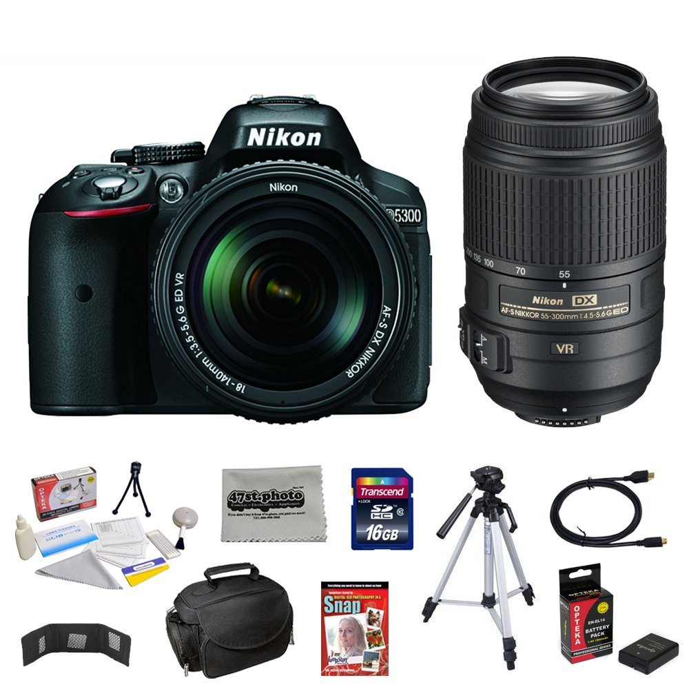 Nikon D5300 24.2 Mp Digital SLR Camera with NIKKOR 18-140mm F/3.5-5.6 Af-s Dx Vr Nikkor Zoom Lens + Nikon 55-300mm F/4.5-5.6g Ed Vr Af-s Dx Nikkor Zoom Lens + FREE 10 Piece Accessory Bundle.