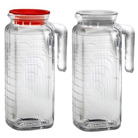Bormioli Rocco Glass Pilsner Glass - Bormioli Rocco Gelo Glass Jug 2 Piece Set with Red and White Lid