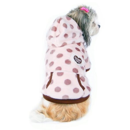 Beige Dots with Hat Ultra soft fleece Hoodie Warm Coat Dog Jacket Clothes - Large (Gift for Pet)