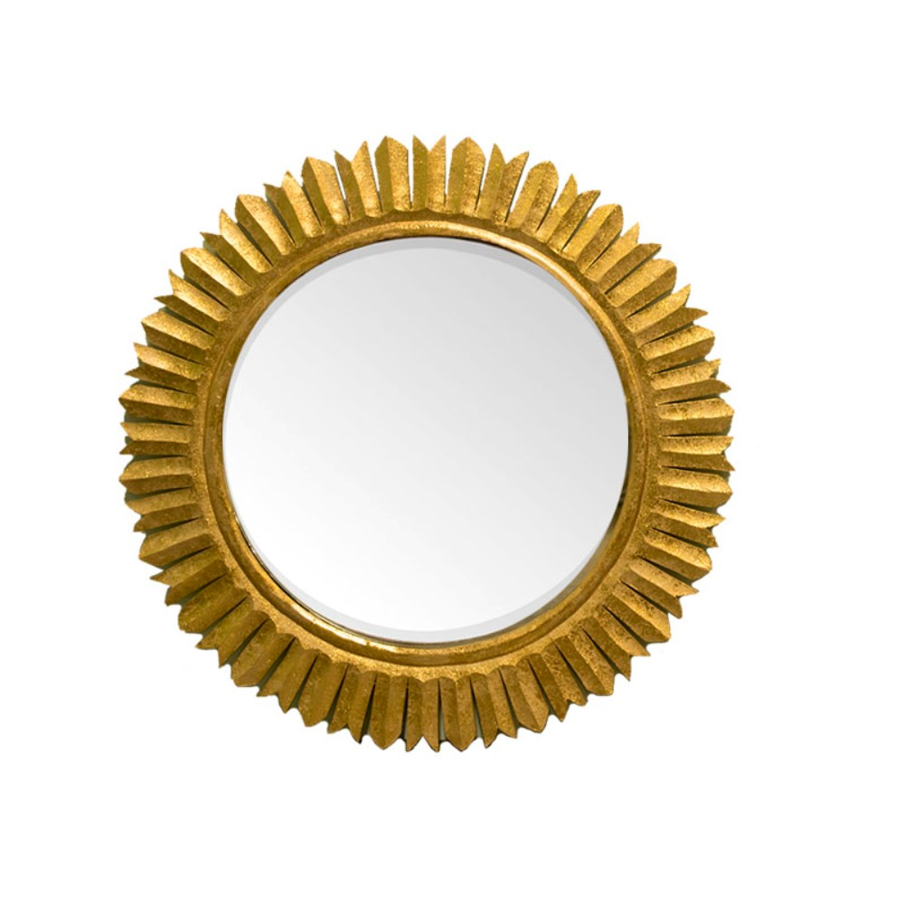Decorative Round Mirror with wooden Carving Frame, Gold