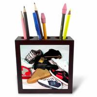 3dRose Skateboard Shoes, Tile Pen Holder, 5-inch