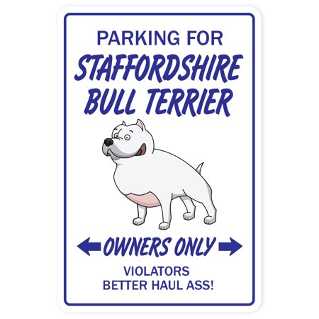 Staffordshire Bull Terrier Novelty Aluminum Sign | Indoor/Outdoor | Funny Home Décor for Garages, Living Rooms, Bedroom, Offices | SignMission Dog Pet Gift Breed Groom Puppy Animal Sign Decoration