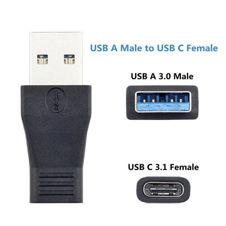 USB C Adapter - Compact USB 3.0 Male to USB 3.1 Type C Female Connector Practical USB-A to USB-C Converter for USB Type-C