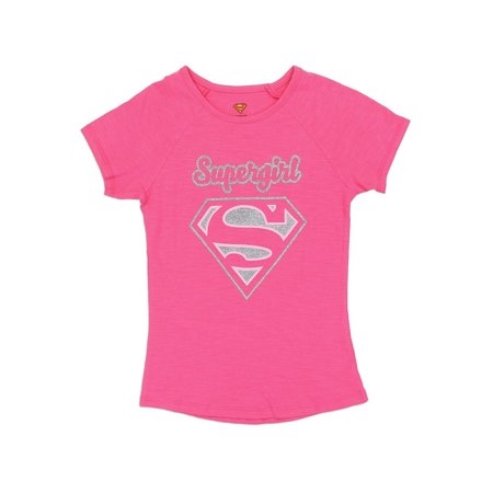 DC Comics Little Girls' Supergirl Glitter Logo Tee, Pink - Comic Con Girls