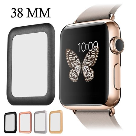 Iclover Apple Watch Screen Protector 38Mm Full Coverage  Anti Scratch Tempered Glass Apple Watch Series 1 2 3 Cover With High Definition   3D Curved Edge Screen Protector Black