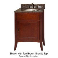 "Metro Collection 385-2400-GN 24"" Sink Vanity with Flared Legs  1 Door  Brushed Nickel Hardware and Water Resistant Brown Cherry Finish with Green Granite Top"