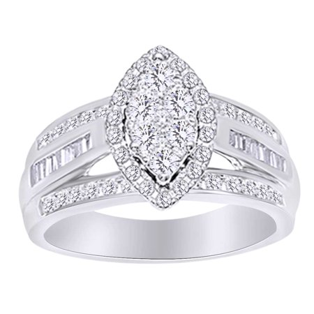 Round & Baguette Shape White Natural Diamond 3 Row Engagement Ring In 10k White Gold (1.00 cttw) Ring Size-9.5