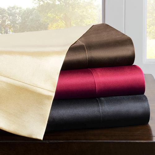 Premier Comfort Solid Satin 6-Piece Sheet Set-King King- Black