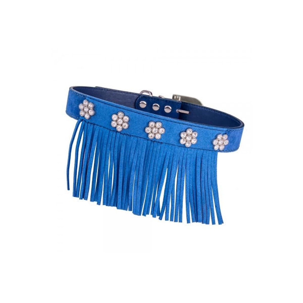 Vanderpump Pets -VFS-MD-BL Fringe/Diamond Suede Collar - ...