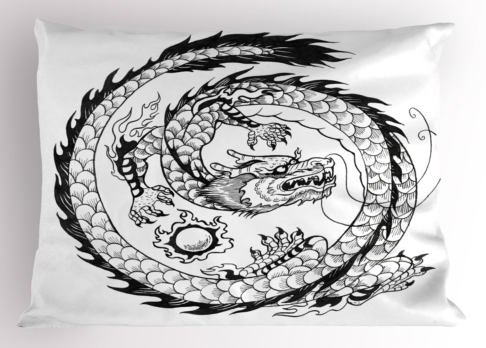 Japanese Swirled Dragon Pattern Folk Heritage Illustration Decorative 3 Piece Bedding Set with 2 Pillow Shams Ambesonne Dragon Duvet Cover Set Queen Size Black and White