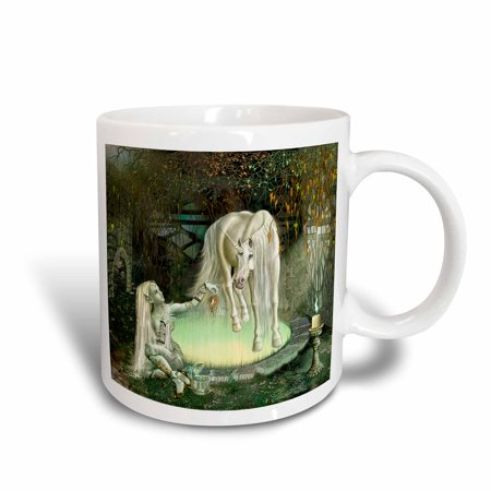 3dRose A magical elf who delivers an enchanted fruit to a unicorn who is held under a spell, Ceramic Mug, 15-ounce